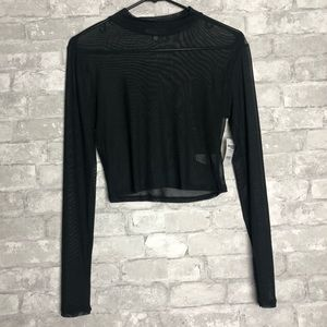 Mesh Black Long Sleeve Shirt